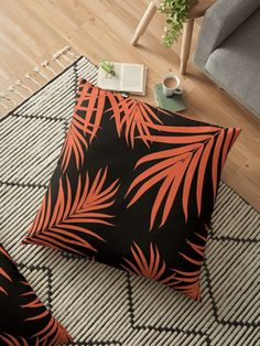 """Palm Leaves Pattern Orange Vibes #1 #tropical #decor #art"" Floor Pillows by anitabellajantz 