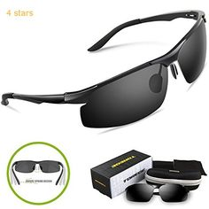 Torege Mens Sports Style Polarized Sunglasses For Cycling Running Fishing Driving Golf Unbreakable Al-Mg Metal Frame Glasses M291