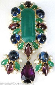 SCHREINER-Book-Piece-Amazing-Green-Blue-Purple-Glass-Cabochon-Pin-Earring-Set