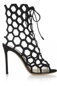 Gianvito Rossi Cutout suede sandals | NET-A-PORTER. Almost ruined by the initial K. But I think they're safe now
