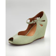 Jeffrey Campbell Regina Peep-Toe Wedge, Green ($110) found on Polyvore