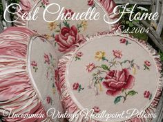Sweet Vintage Roses, shown here are 3 of 4 vintage needlepoint tufffets (pillows) available at www.cestchouettehome.com