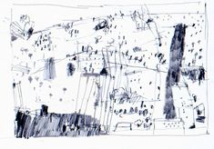 Paul Balmer: Drawings based on Central Park. Landscape Drawings, Abstract Drawings, Landscape Art, Landscape Paintings, Drawing Course, Drawing Base, Painting & Drawing, Thumbnail Sketches, City Drawing