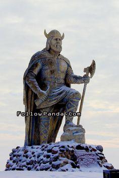 Roadside Attraction: Gimli Giant Viking Sculpture in Winter - Gimli, Manitoba, Canada   FollowPanda.Com
