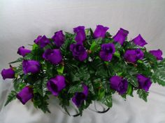 Headstone Cemetery Tombstone Saddle Silk Flower Saddles Dark Purple Roses