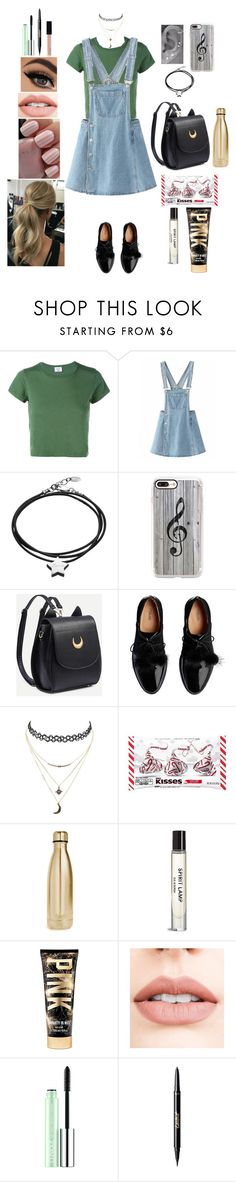 """Untitled #570"" by qwert123456 ❤ liked on Polyvore featuring RE/DONE, Under the Rose, Casetify, Charlotte Russe, Hershey's, S'well, Victoria's Secret, Jouer, Clinique and tarte"