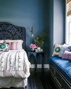Gorgeous blue bedroom via domino http://domino.com/mix-pillows-like-a-pro