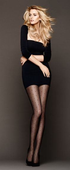 Fabulous black mini+tights.