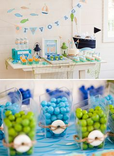 Sailboat table scape blues and greens