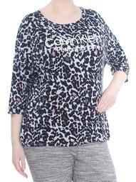 CALVIN KLEIN Womens Black Printed 3/4 Sleeve Active Wear Top Plus  Size: 1X