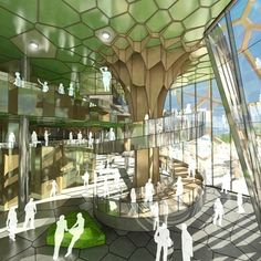 ARM Architecture Wins The Gold Coast Cultural Precinct Competition Arm Architecture, Cultural Architecture, Concept Architecture, Futuristic Architecture, Mall Design, Lobby Design, Shopping Mall Interior, Dome Structure, Home Greenhouse