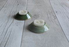 Set of Two Green Hand Thrown Tea-light Candle Holders - Ready to Ship by KaraLeighFord on Etsy
