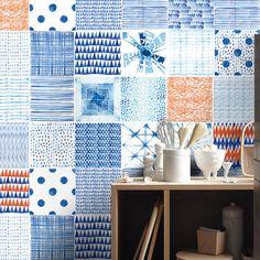 Shibori - Watercolor - Tile Decal - Tile Stickers - Kitchen Tiles - Backsplash Tile - Backsplash Decal - Bathroom Tile - 24 PACK - SKU:Shib