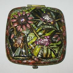 Gorgeous Vintage Jay Strongwater Frog & Flower Compact from miladyschoice-rp on Ruby Plaza