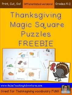 Thanksgiving Magic Square Vocabulary Puzzle FREEBIE - This is great for your higher Kindergarten students who are already reading some words. Let them be challenged by the Thanksgiving vocabulary words and this puzzle!