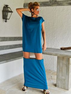 Petrol Maxi Dress Kaftan with See-Through by SynthiaCouture