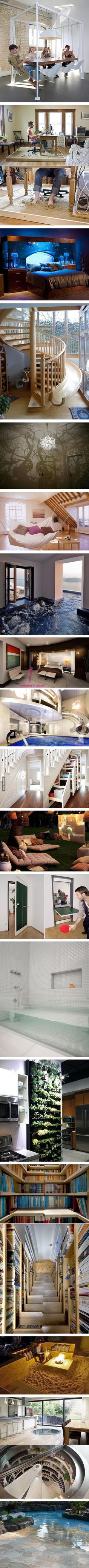 Waterslide in closet is an interesting use of space.   Spiral staircase with slide - outside!