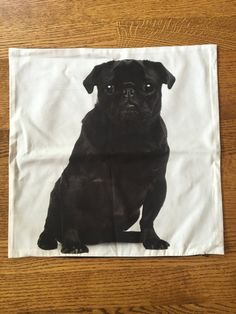 Black Pug Pouty Dog Throw Pillow Case 17x17 by ExpatSupplyCo