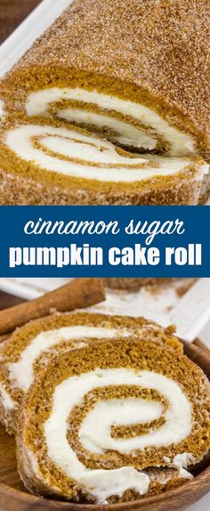 Cinnamon Sugar Pumpkin Roll {A Fun Rolled Up Cake for Fall Baking} pumpkin/cake roll/cream cheese Rolled and sprinkled this Cinnamon Sugar Pumpkin Roll is the perfect fall baking recipe to have in your arsenal this season! via @thebestcakerecipes