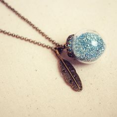 Glass Bauble Necklace with Blue Glitter and by DearDelilahHandmade (Can has one with green glitter?)