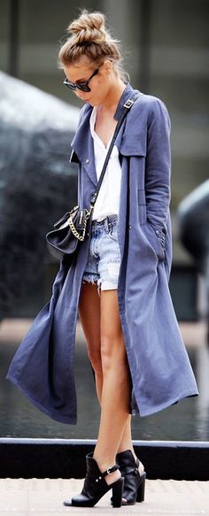 Love this trench and color - Would be great for travel too...Draped soft trench coats are the ultimate transitional spring piece