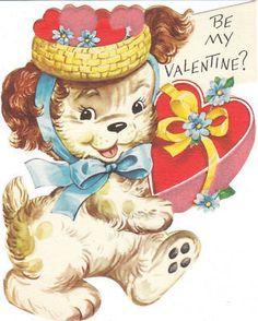 Vintage Valentine Card Cocker Spaniel Dog in Hat