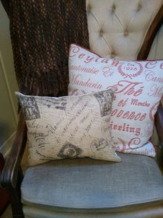 Another option for the master bedroom - Burlap Postage Pillow. $14.00, via Etsy.