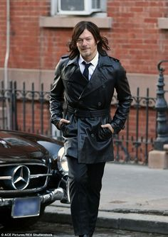 """Men's Fitness Shoot - NYC """"Working it: The hunk looked incredible in his slick leather jacket as he crossed the street"""""""