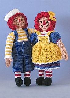 RAG ANDY AND ANN SMALL THREAD DOLLS OLD DRIVE G IN FILE S PENDLETON CROCHET