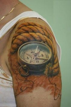 Although compass tattoo designs used to be famous with soldiers, sailors and navigators, the trend has greatly changed with many people adopting the use of compass tattoos give its cool design and rich symbolism. Amazing 3d Tattoos, Best 3d Tattoos, Body Art Tattoos, Mens Tattoos, Sleeve Tattoos, Ship Tattoos, Crazy Tattoos, Tatoo 3d, Mädchen Tattoo