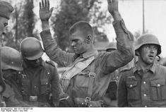 Barbarossa, June 1941: Dazed Soviet POW is searched by his German captors. Such was the staggering force of the German opening hammer blow that the Soviet army disintegrated in place or retreated in anarchy abandoning huge amounts of materiel and surrendering enormous swaths of territory, not to mention hundreds of thousands of POWs. It was the weather that finally stopped the German Juggernaut.