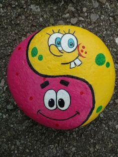 SpongeBob and Patrick ying yang rock painting