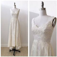 Vintage 1970' s 1980's Priscilla of Boston taffeta wedding dress with... ($365) ❤ liked on Polyvore featuring dresses and wedding dresses