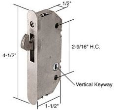 "CRL 1/2"" Wide Mortise Lock With 2-9/16"" Screw Holes With Vertical Keyway by CR Laurence by C.R. Laurence. $31.53. 4-1/2"" Face Plate. Vertical Keyway. This Mortise Lock has a 1/2 inch (12.7 millimeter) wide steel mortise latch with an adjustable bolt throw. This unit can withstand approximately 1000 pounds of force horizontally and vertically to resist a pry bar attack or an attempt to lift the door off of its track. Used with Mortise Style Handle Sets . If a Keeper i..."