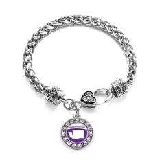 Washington Outline Circle Charm Braided Bracelet