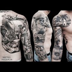 half sleeve tattoo designs and meanings Realistic Tattoo Sleeve, Unique Half Sleeve Tattoos, Full Sleeve Tattoo Design, Tribal Sleeve Tattoos, Girls With Sleeve Tattoos, Japanese Sleeve Tattoos, Tattoos For Guys, Henna Tattoos, Cuban Tattoos