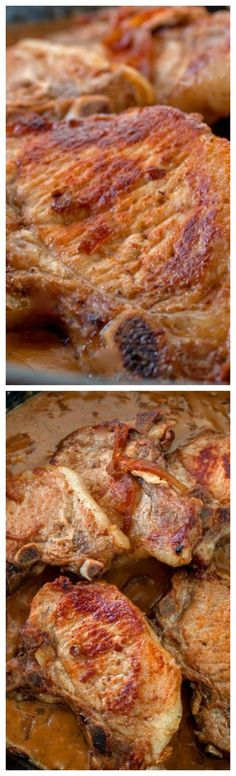Pork Chops in Sour Cream Gravy ~ Beef broth, sour cream, onions and Worcestershire Sauce add tons of flavor and make this an extraordinary dinner.