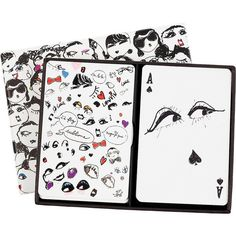 Lanvin Set of two packs of illustrated playing cards ($79) ❤ liked on Polyvore featuring accessories, items, lanvin, collectables, home y white