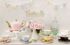 Experience High Tea in style with this luxurious mix and match, 1950's vintage inspired pastel teaware. Christina Re