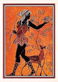 Greece Postcard memories of ancient Greece, Diana Protector of Hunting Ancient Greek Art, Ancient Rome, Ancient Greece, Greek Gods And Goddesses, Greek Mythology, Greek Drawing, Greek Paintings, Greek Warrior, Diane