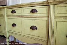DIY:  Painted Furniture: Updating A Vintage Buffet with a Pop of Color - paint color & wax noted on this post.