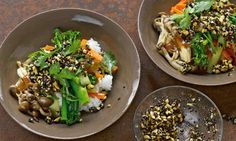 Yolam Ottolenghi gives Asian flavours the Japanese treatment. Try MISO VEG AND RICE WITH BLACK SESAME DRESSING and his HEARTY FRIED RICE. The latter includes prawns which can always be excluded.
