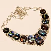 """DICHROIC GLASS GEMSTONE .925 SILVER NECKLACE 18"""""""