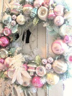 Vintage Ornament Wreath... Here ya go mom a nice way to use up all those ugly ornaments u have LOL