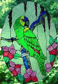 Parrot Faux Stained Glass Suncatcher #Handmade