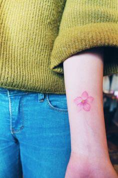 Single Blossom Floral Tattoo by Nando