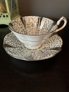 Gorgeous Vintage Queen Anne Silver Lace Ornate Teacup and Saucer, silver floral gilding, Shiny, Silver Anniversary Gift, Wide Mouth. Tim Hortons Coffee, Silver Anniversary Gifts, Queen Anne, Hand Blown Glass, Teacup, Bone China, Hot Chocolate, Happy Shopping, Lace