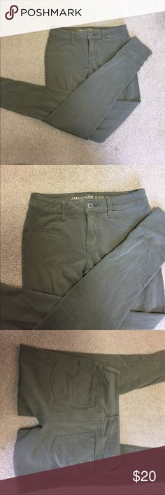 Green American Eagle Jeggings Super cute olive green jeggings. Same as the tan pair! Excellent condition American Eagle Outfitters Jeans Skinny