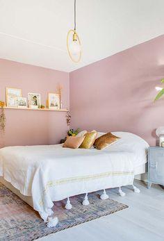 Rosa antigo, branco e dourado para uma decoração contemporânea no estilo boho chic
