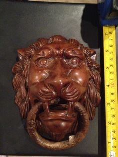 Lions Head Door Knocker. Hand Carved!! Vintage. RARE.